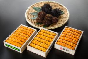 上起:北海道紫海膽及馬冀海膽、左起:馬冀海膽、白海膽、赤海膽