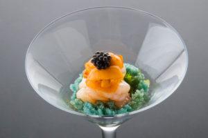 牡丹蝦配海膽魚子醬